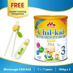 Morinaga Chil-kid 3 tins x 900g (free 1 Combi Training Chopsticks)
