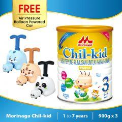 Morinaga Chil-kid 3 tins x 900g (free 1 Air Pressure Balloon Powered Car)