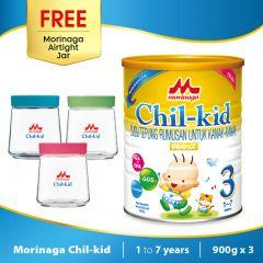 Morinaga Chil-kid 3 tins x 900g ( free 1 Morinaga Airtight Jar )
