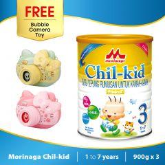 Morinaga Chil-kid 3 tins x 900g ( free 1 Bubble Camera Toy)