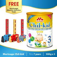 Morinaga Chil-kid 3 tins x 900g ( free 1 Morinaga Electric Domino Train)