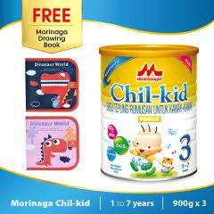 Morinaga Chil-kid 3 tins x 900g (free 1 Morinaga Drawing Book)