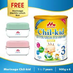Morinaga Chil-kid 6 tins x 900g ( free 1 Morinaga Electric Lunch Box)