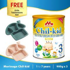 Morinaga Chil-kid 3 tins x 900g ( free 1 Kids Tableware Set - Mushroom Dark Green)
