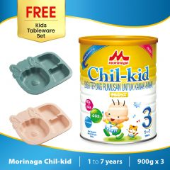 Morinaga Chil-kid 3 tins x 900g ( free 1 Kids Tableware Set - Sheep Dark Green)