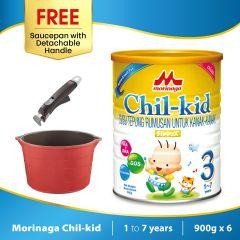Morinaga Chil-kid 6 tins x 900g (free 1 Saucepan with Detachable Handle)