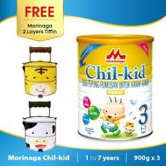 Morinaga Chil-kid 3 tins x 900g ( free 1 Morinaga 2 Layers Tiffin)